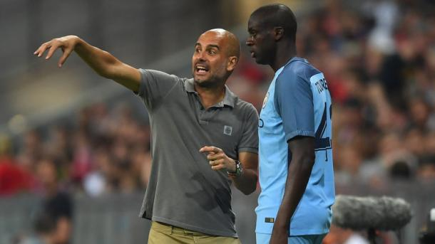 Guardiola has admitted it will take time for his team to play in the style he wants them too. (Image source: Sky Sports)