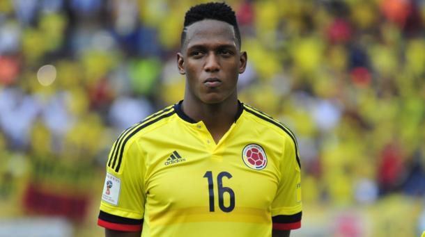 Yerry Mina en un partido de Eliminatorias Sudamericanas. Foto: Federación Colombiana de Fútbol (fcf.com).