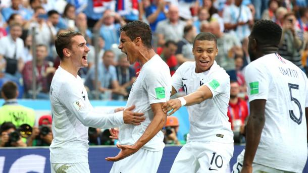 Raphaël Varane gave France the opening goal they were looking for | Source: Getty Images via FIFA.com