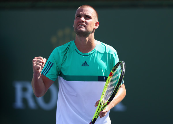 Youzhny in action at the BNP Paribas Open in March (Photo by Julian Finney / Source: Getty Images)