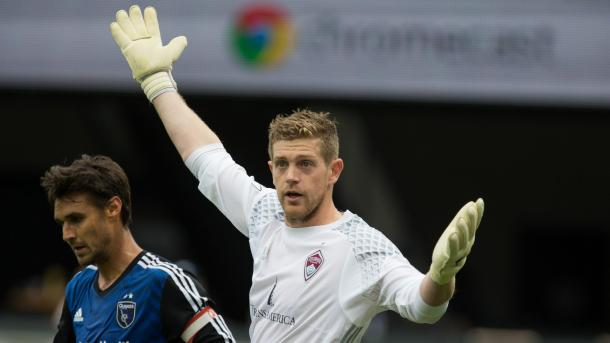 The Impact will be hoping that Rapids' goalkeeper Zac MacMath (Center) commits another mistake in the penalty box on Saturday. Photo provided by Colorado Rapids.