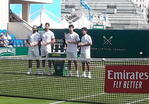 El último enfrentamiento entre ambas parejas fue en Eastbourne, con victoria y título de los colombianos. Imagen: lacapitalmdp.com