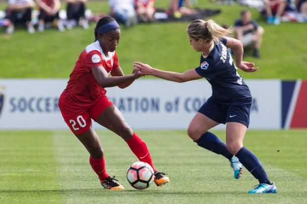Zerbroni, the goal scorer for North Carolina, on left faces off against Williams of the Spirit, right. l Source: @TheNCCourage on Twitter
