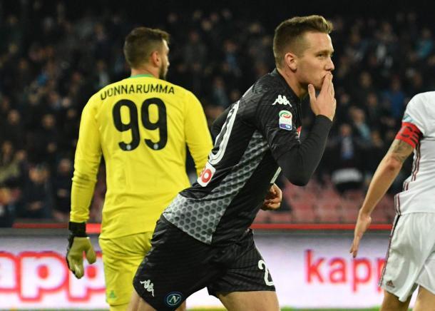 L'esultanza di Zielinski dopo il 2-0 - Foto Ssc Napoli