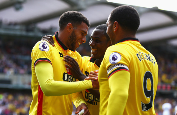 Ighalo, Deeney and Capoue celebrate. | Source: zimbio