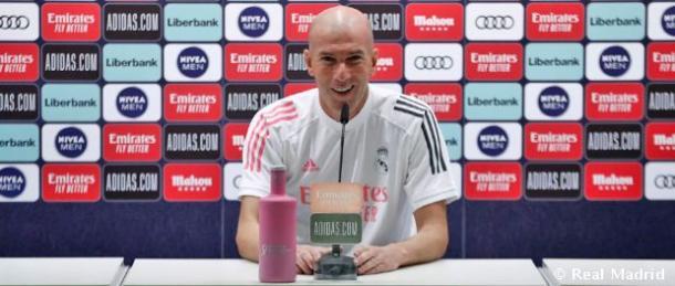 Zidane comparece en la previa del Huesca. Fuente: Real Madrid