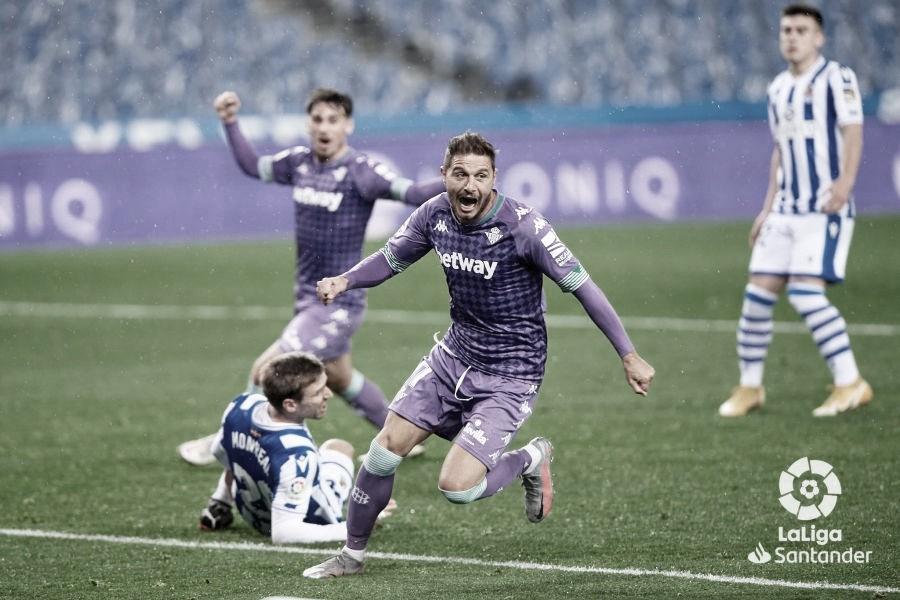 Joaquín celebra el segundo gol. (Fuente @laliga)