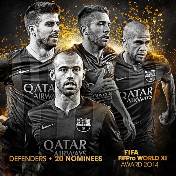 Cuatro defensas del Barça candidatos a entrar en el XI del año