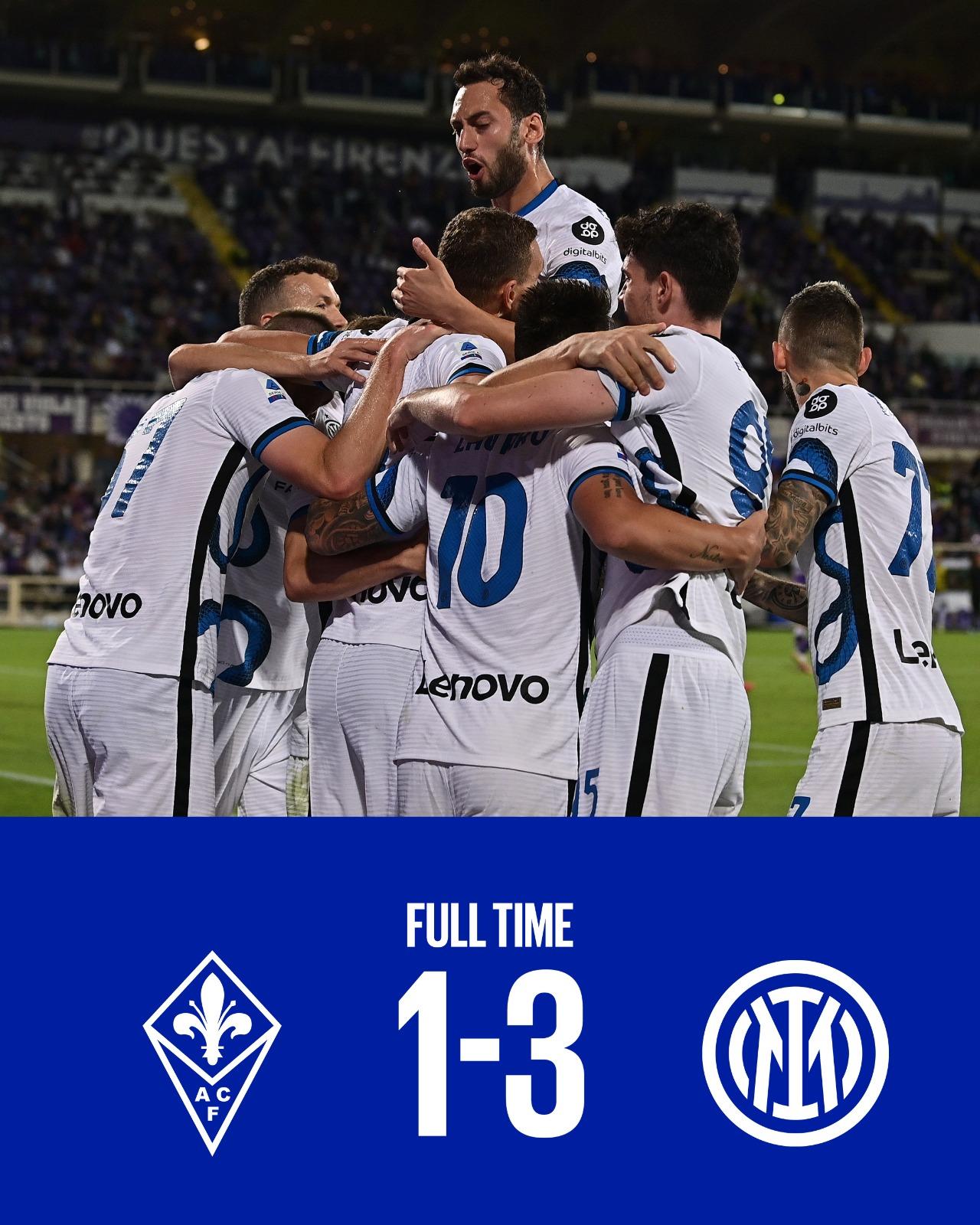 Inter in rimonta. 3-1 alla Fiorentina e vola in testa alla classifica