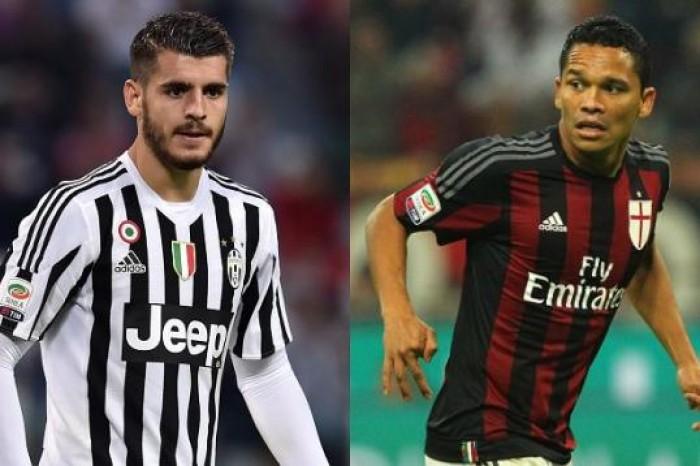Le 5 sfide TOP di Milan-Juve: i realizzatori: Bacca contro Morata nella sfida ispanica