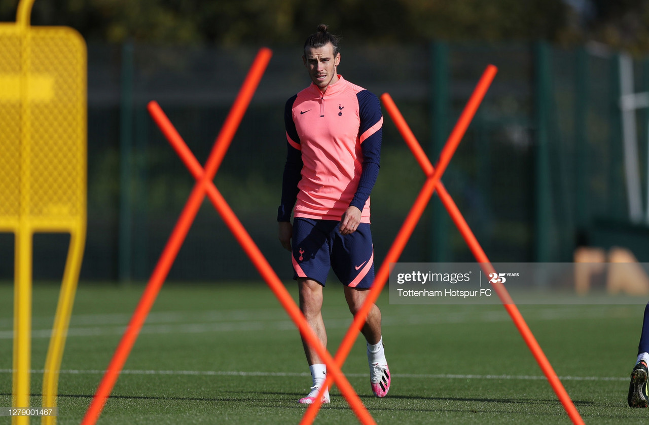 ENFIELD, ENGLAND - OCTOBER 07: Gareth Bale of Tottenham Hotspur during the Tottenham Hotspur training session at Tottenham Hotspur Training Centre on October 07, 2020 in Enfield, England. (Photo by Tottenham Hotspur FC/Tottenham Hotspur FC via Getty Images)