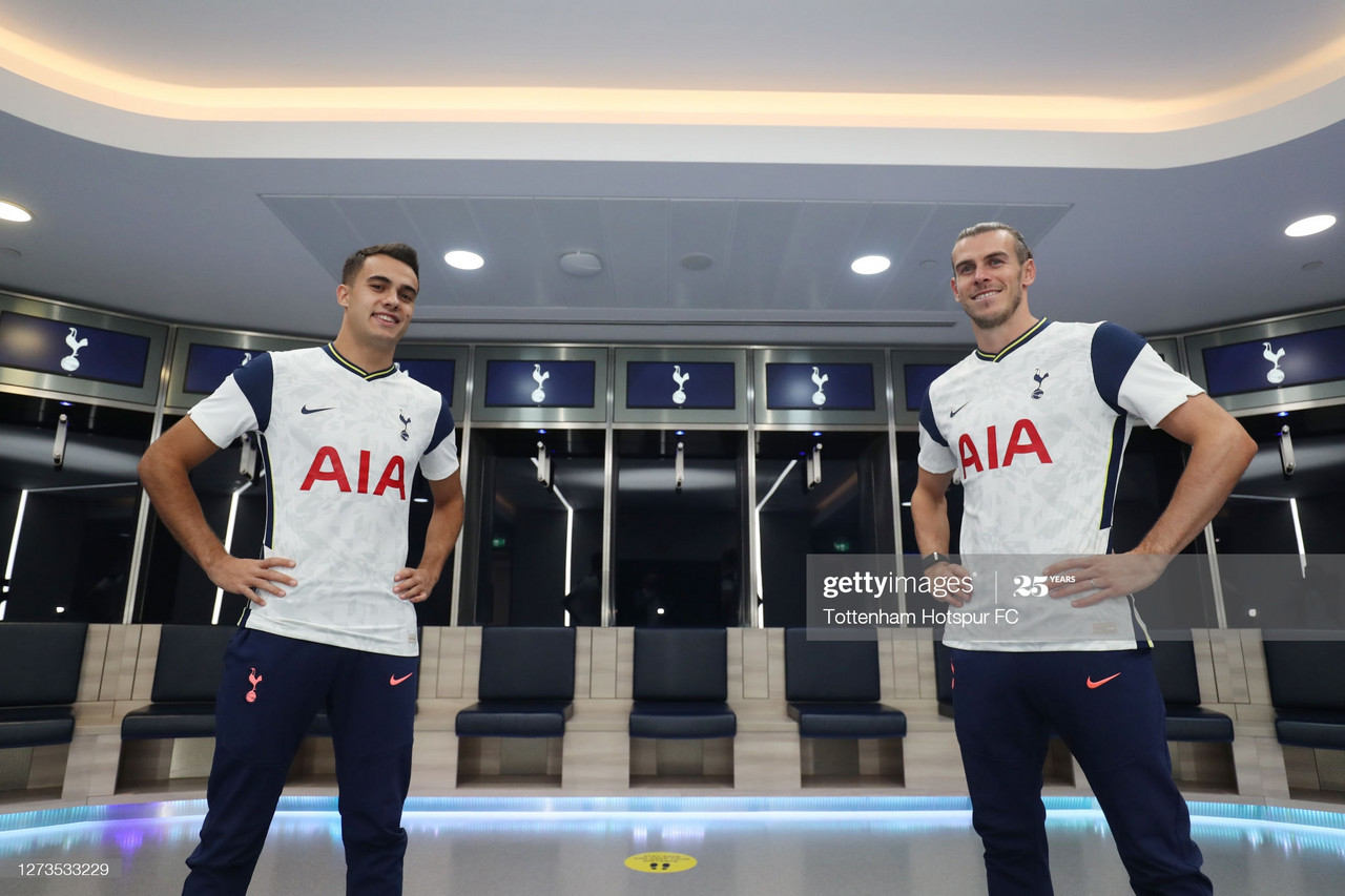 LONDON, ENGLAND - SEPTEMBER 19: Tottenham Hotspur new signings Gareth Bale and Sergio Reguilon visit the Tottenham Hotspur Stadium on September 19, 2020 in London, England. (Photo by Tottenham Hotspur FC/Tottenham Hotspur FC via Getty Images)