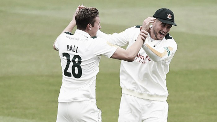 County Championship Division One: Jake Ball dismisses Joe Root for golden duck in highlight of day