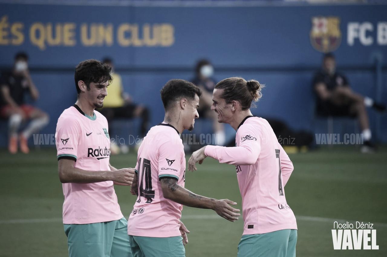 Antoine Griezmann, Francisco Trincão y Philippe Coutinho celebrando un gol en la presente temporada | Foto de Noelia Déniz, VAVEL