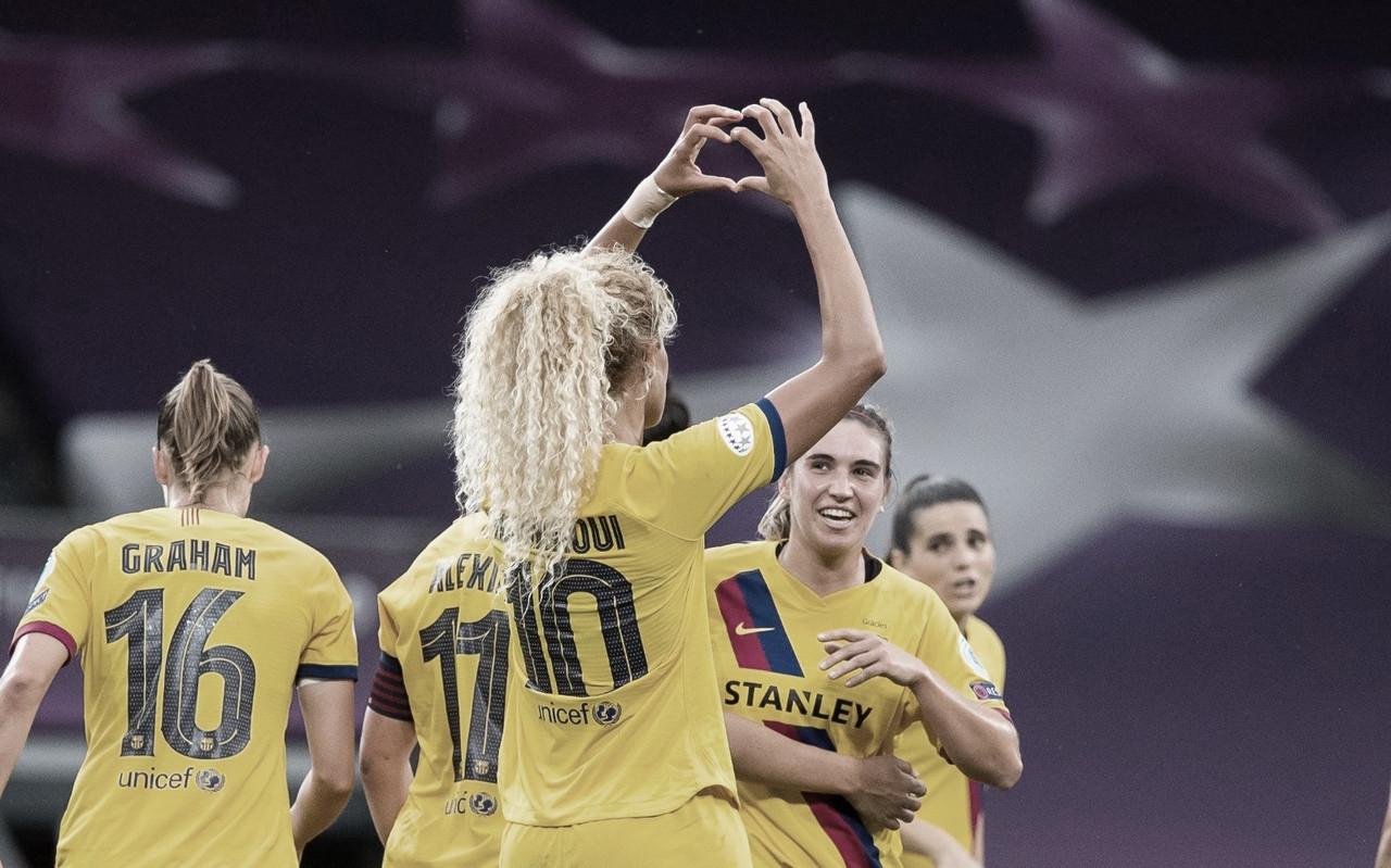 Barcelona pressiona Atlético de Madrid, vence com gol no final e vai às semis na Champions League Feminina