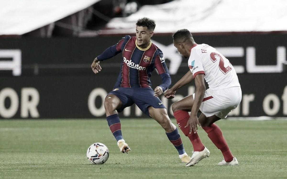 Coutinho marca, mas Barcelona só empata com Sevilla em pleno Camp Nou