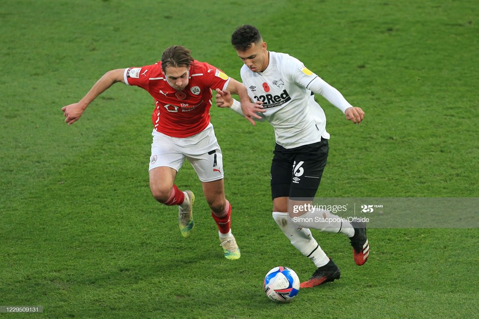 Barnsley's Callum Brittain (left) looks to challenge Derby County's Lee Buchanan. Photo:  Simon Stacpoole/Offside/Getty Images.