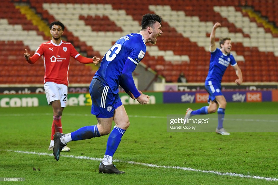 Cardiff City's Keiffer Moore celebrates his equaliser against Barnsley. Photo: Gareth Copley/Getty Images.