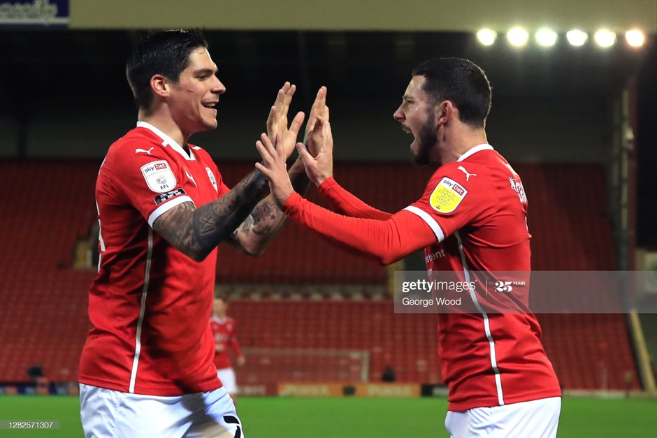 Barnsley's Conor Chaplin (right) celebrates his goal with Dominik Frieser as Valerien Ismael made a winning start as head coach on Tuesday. Photo: George Wood/Getty Images.