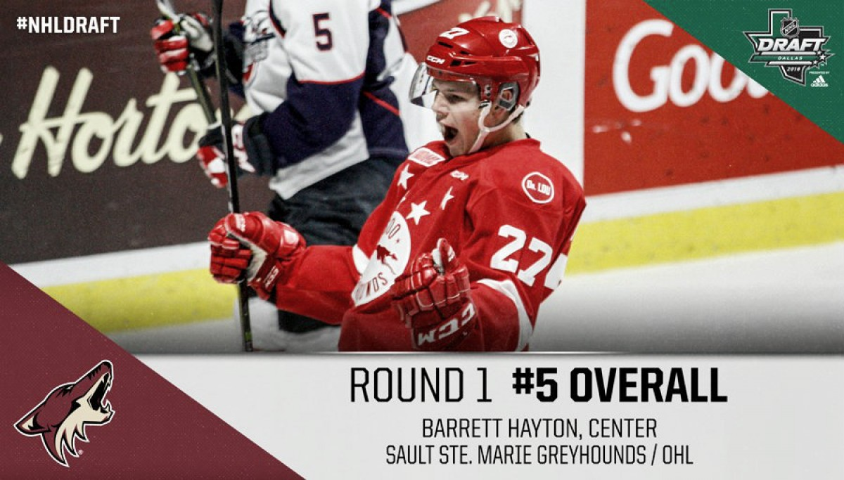 Arizona Coyotes make surprise fifth overall pick choosing Barrett Hayton