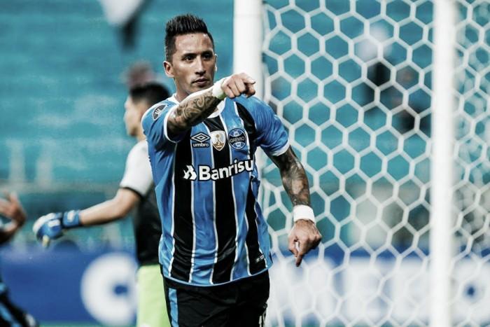 Barrios iguala número de gols de Barcos como artilheiro estrangeiro em Libertadores pelo Grêmio