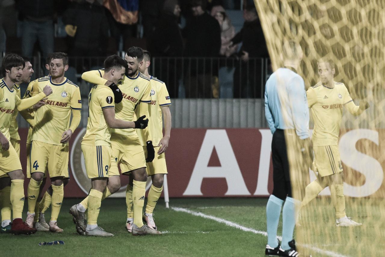 """BATE Borisov """"fecha a casinha"""" e aproveita chance contra o Arsenal pela Europa League"""