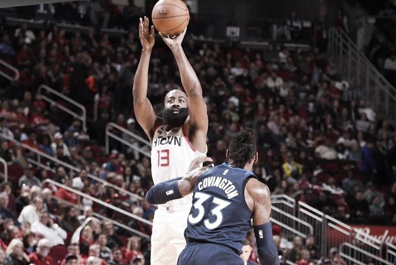 James Harden lidera vitória dos Rockets contra Timberwolves e chega aos 20 mil pontos na carreira
