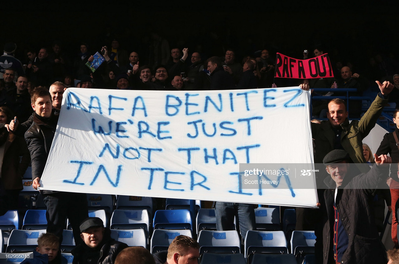 Chelsea fans display a banner as they protest against Rafael Benitez, interim manager of Chelsea prior to the Barclays Premier League match between Chelsea and West Bromwich Albion at Stamford Bridge on March 2, 2013 in London, England. (Photo by Scott Heavey/Getty Images)