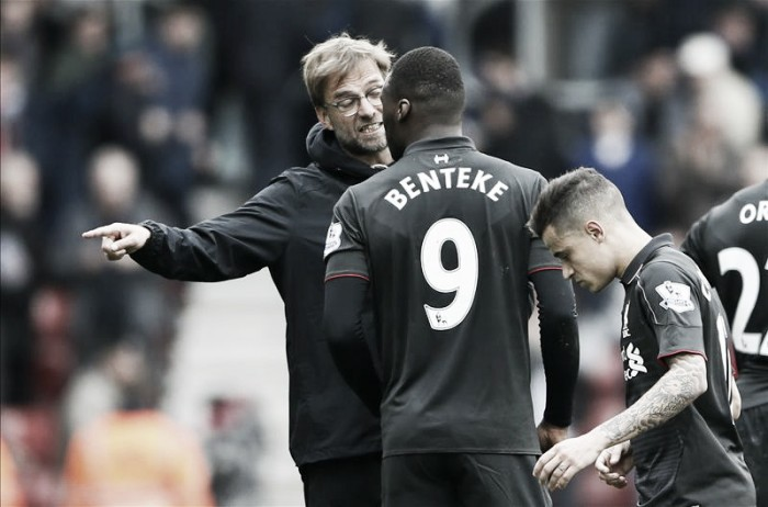 Klopp focusing on Benteke injury news, rather than outburst, with Belgian set to miss up to a month
