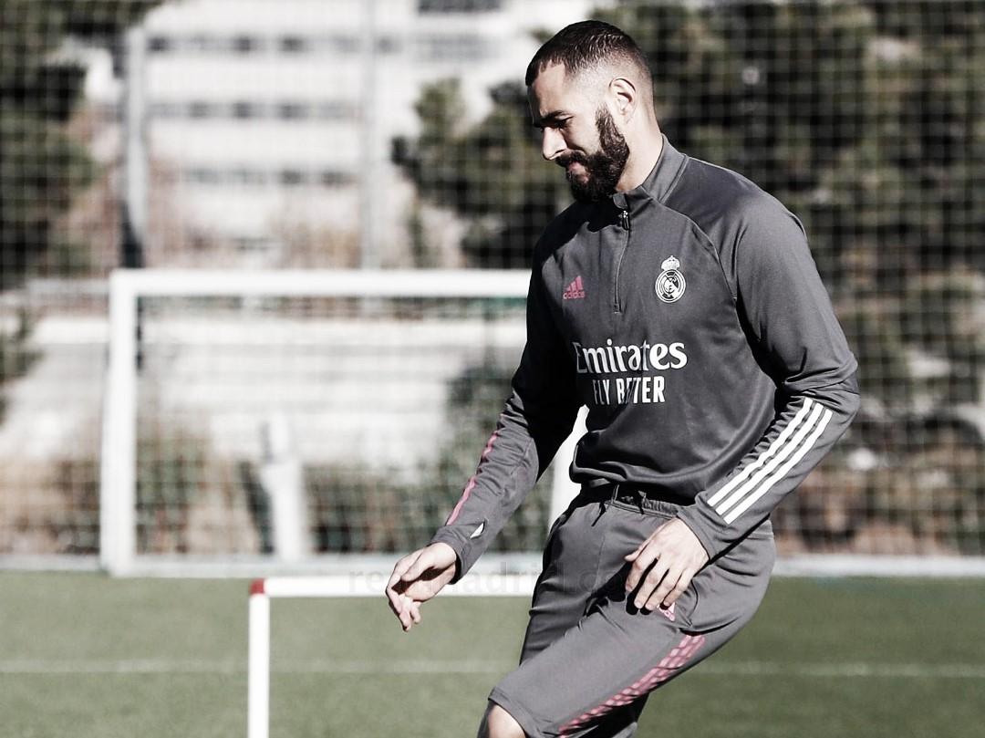 Benzema en el entrenamiento de esta mañana. Fuente: Real Madrid