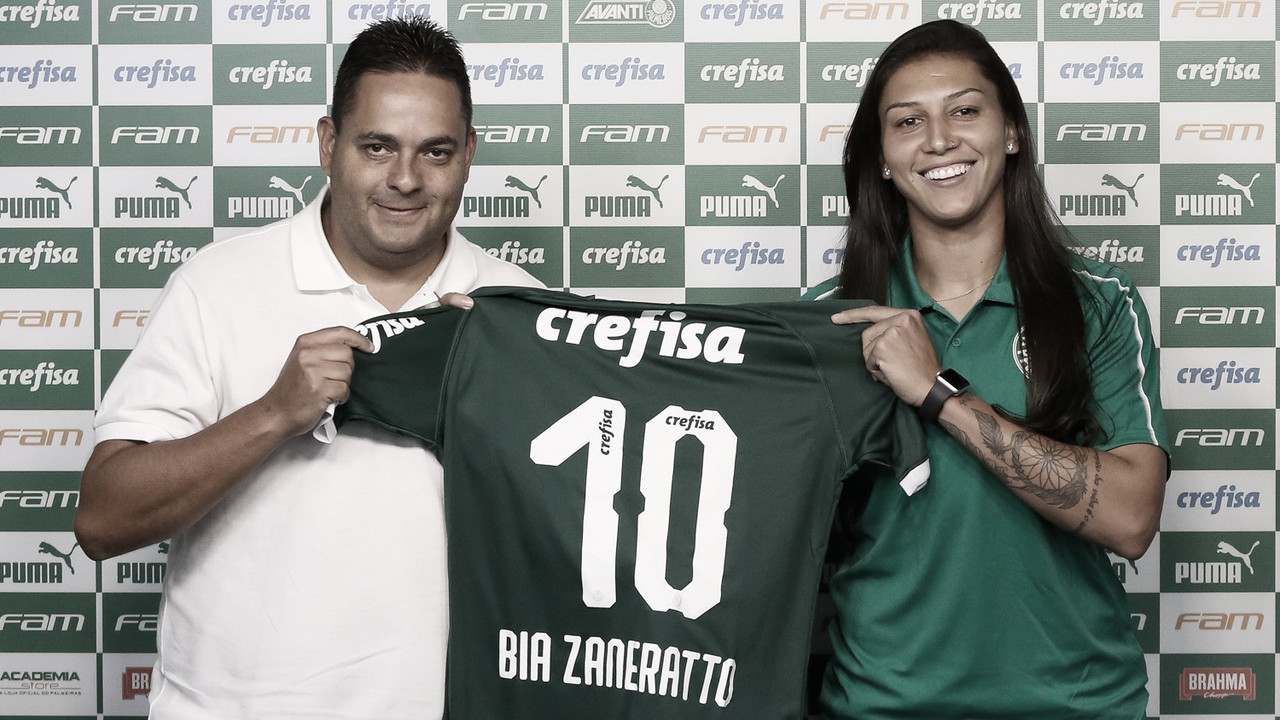 """Bia Zaneratto é apresentada no Palmeiras e dispara: """"Todo mundo abraçando a causa faz com que a modalidade cresça"""""""