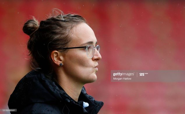 WALSALL, ENGLAND - OCTOBER 03: Gemma Davies, Manager of Aston Villa looks on prior to the Barclays FA Women's Super League match between Aston Villa and Everton at Banks's Stadium on October 03, 2020 in Walsall, England. (Photo by Morgan Harlow/Getty Images)