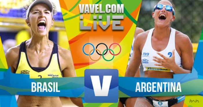 Brasil x Argentina no vôlei de praia feminino dos Jogos Olímpicos (2-0)