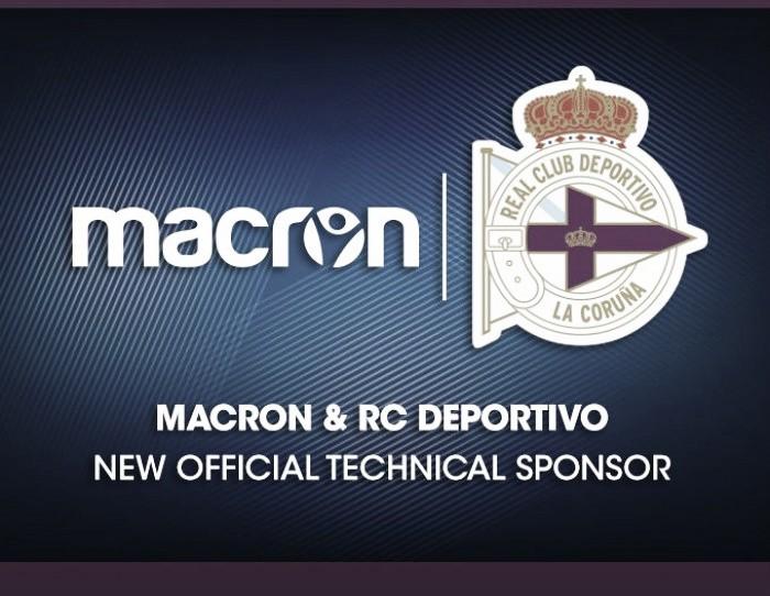 Macron, nuevo patrocinador del RC Deportivo para las próximas cuatro temporadas.