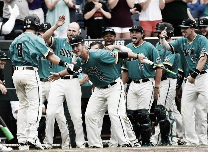 College World Series: Coastal Carolina Chanticleers clinch berth in finals with win over TCU Horned Frogs 7-5