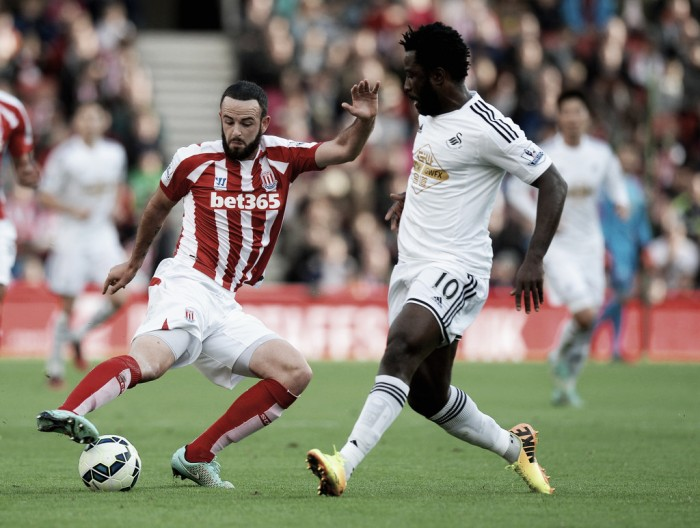 Wilfried Bony and Bruno Martins Indi through the door at Stoke City