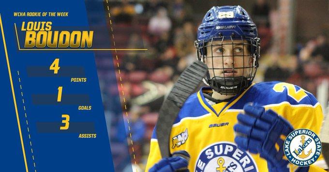 Première saison aboutie pour Louis Boudon en NCAA (Crédit : Twiiter @HockeyLSSU)