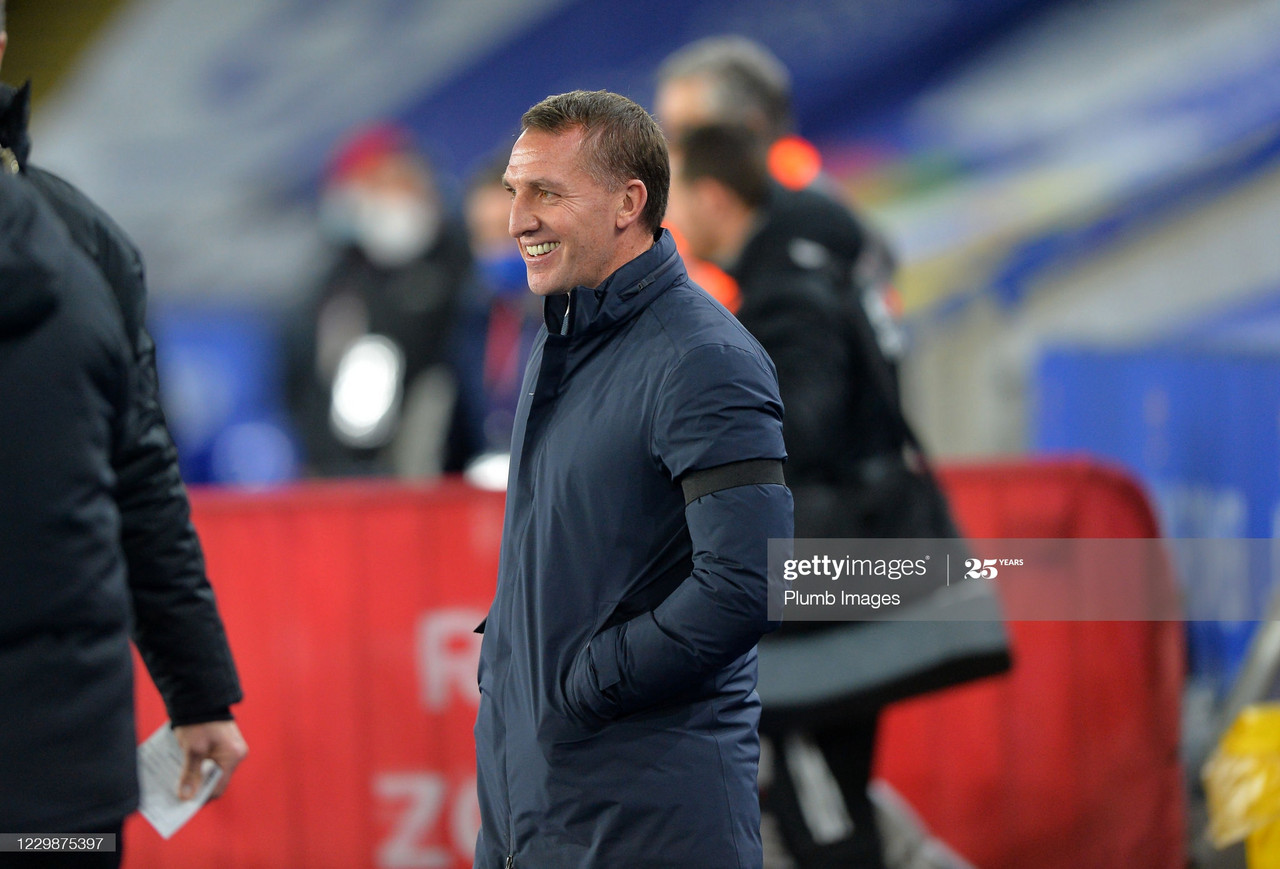 LEICESTER, ENGLAND - NOVEMBER 30: Manager of Leicester City Brendan Rodgers looks on before the Premier League match between Leicester City and Fulham at The King Power Stadium on November 30, 2020 in Leicester, United Kingdom. Sporting stadiums around the UK remain under strict restrictions due to the Coronavirus Pandemic as Government social distancing laws prohibit fans inside venues resulting in games being played behind closed doors. (Photo by Plumb Images/Leicester City FC via Getty Images)