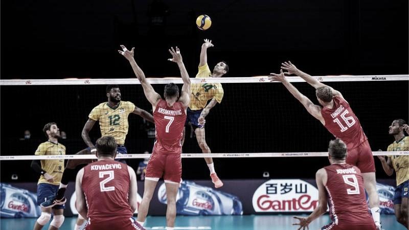 Brasil perde primeiro set, mas vira sobre a Sérvia e fecha semana com vitória