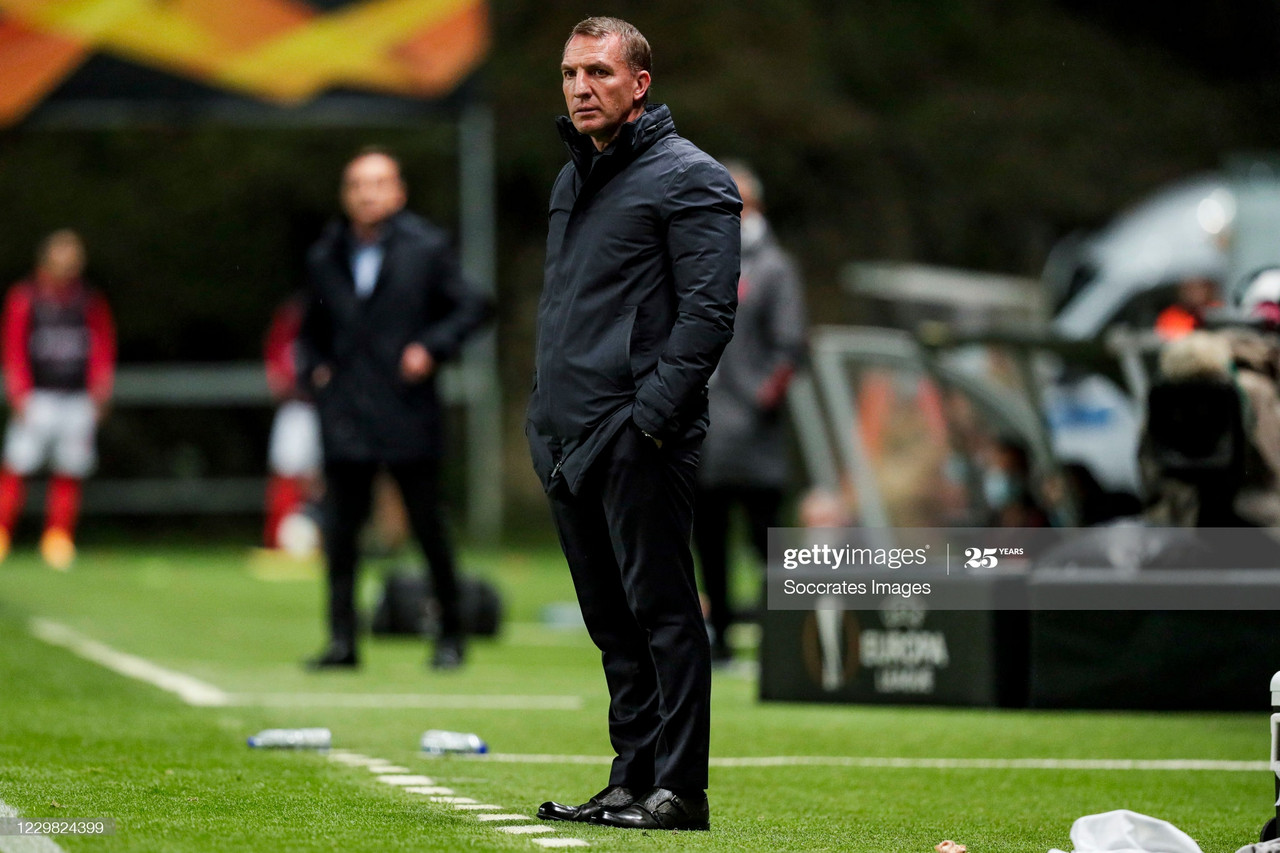 BRAGA, PORTUGAL - NOVEMBER 26: Coach Brendan Rodgers of Leicester City during the UEFA Europa League match between Sporting Braga v Leicester City at the Estádio Municipal de Braga on November 26, 2020 in Braga Portugal (Photo by David S. Bustamante/Soccrates/Getty Images)