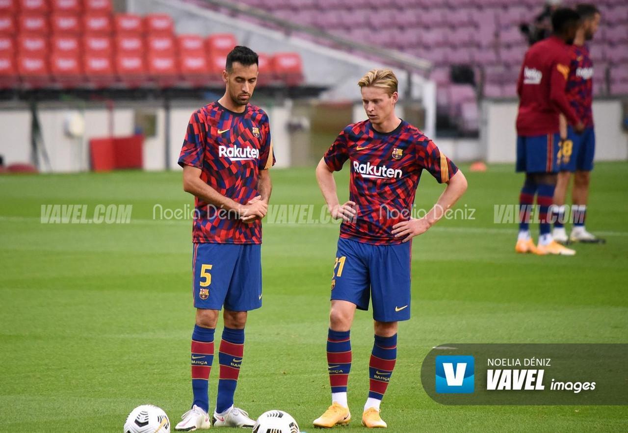 Los internacionales del Barça, en acción