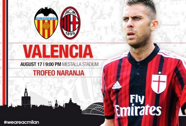 Valencia - Milan per il Trofeo Naranja