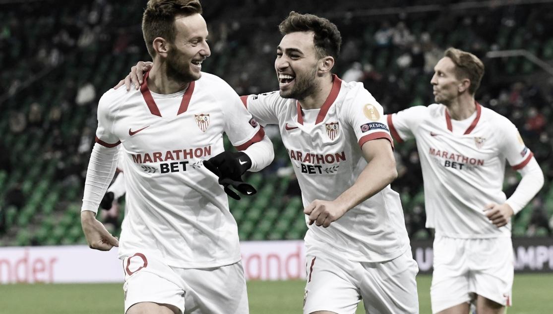 Rakitic y Munir celebrando un gol ante el Krasnodar / Foto: Sevilla FC