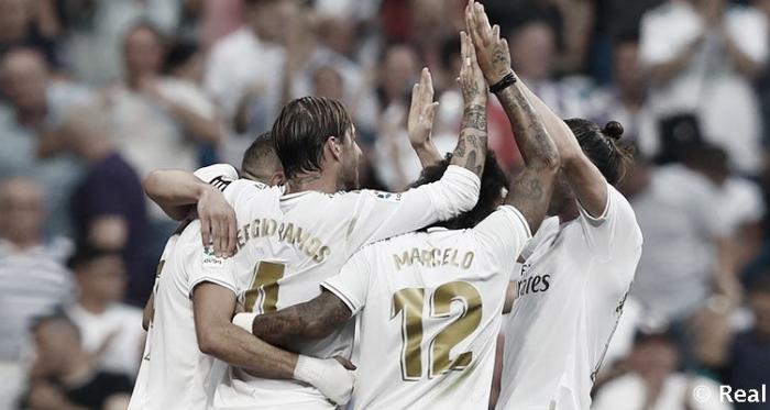 Los jugadores blancos celebran un gol esta temporada / Foto: Real Madrid C.F