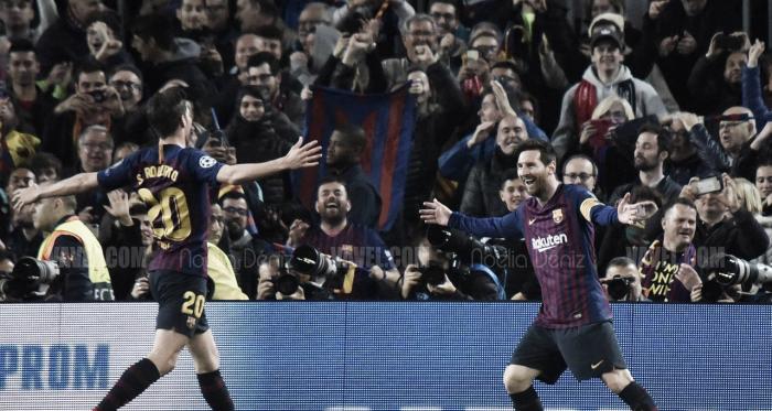 Leo Messi y Sergi Roberto celebrando uno de los goles conseguidos ante el Manchester United Football Club de Ole Gunnar Solskjær | Foto de Noelia Déniz, VAVEL