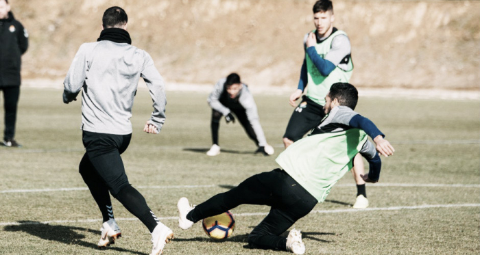 Los jugadores del Real Valladolid preparando el entrenamiento frente al SD Huesca. Fotografía: Real Valladolid