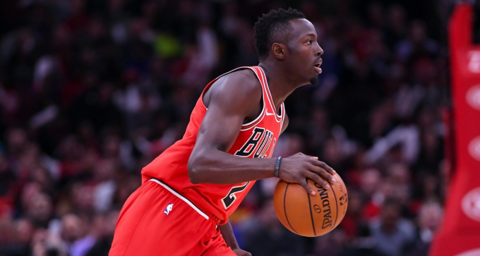 Chicago Bulls guard Jerian Grant (2) dribbles the ball against the Orlando Magic during the first half at the United Center. |Mike DiNovo-USA TODAY Sports|