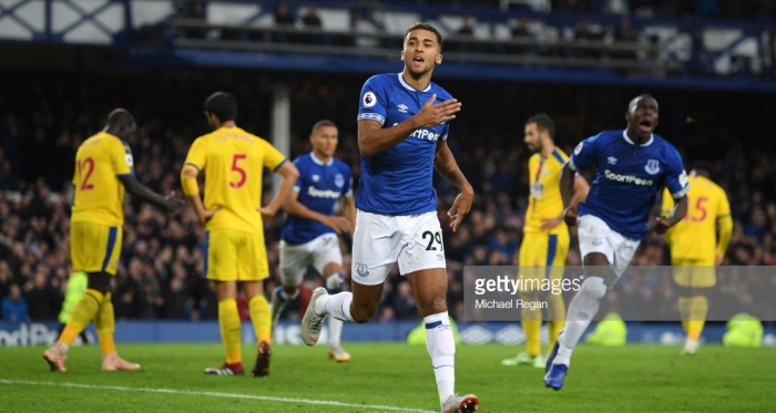Calvert-Lewin celebrates after giving Everton the lead against Palace (Photo Source: Michael Regan / Getty Images)