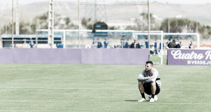 Óscar Plano, protagonista en el entrenamiento de hoy // FUENTE: Real Valladolid