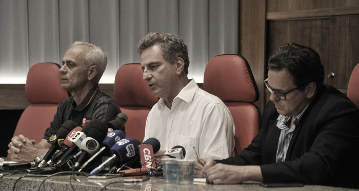Coletiva de Landim em 24/02(Foto: Marcelo Cortes/ Flamengo)